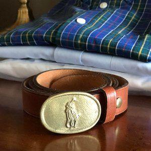 POLO Ralph Lauren Vintage Brass Logo Buckle Belt